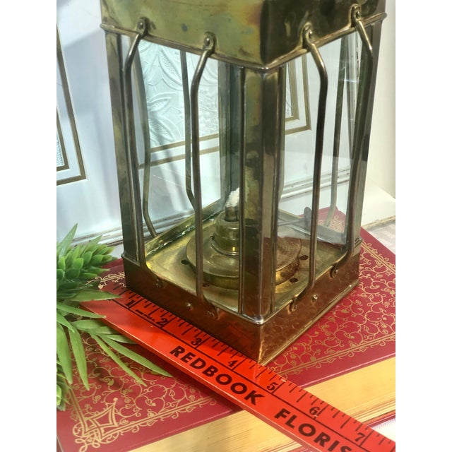 English Vintage Nautical Marine Solid Brass Lantern Oil Lamp For Sale - Image 3 of 12
