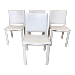 Room & Board Madrid Ivory Leather Chairs- Set of Four For Sale