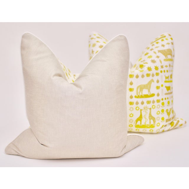 "Beautifully handmade pair of Lulie Wallace ""Two by Two"" 24"" Square pillows in Citron. Features a coordinating welt, linen..."