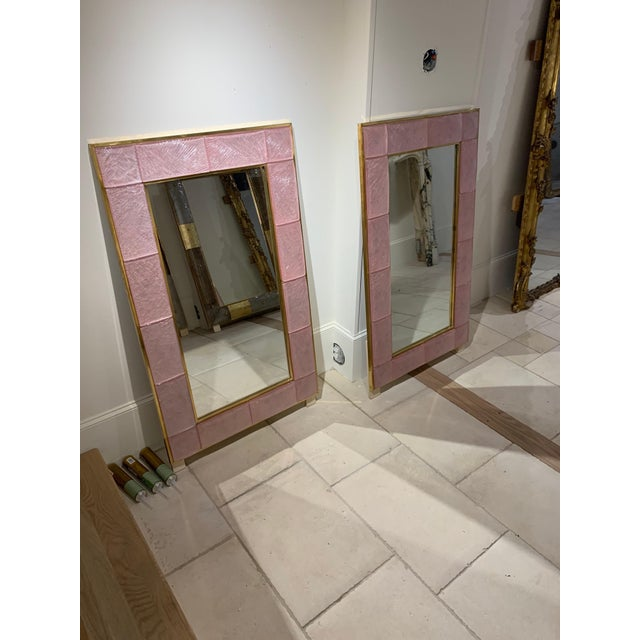 Early 21st Century Modern Pink Murano Glass and Brass Mirror For Sale In Dallas - Image 6 of 9
