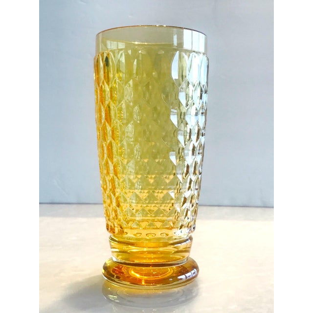 Set of Seven Vintage Villeroy & Boch Crystal Highball Glasses in Amber For Sale In Miami - Image 6 of 13