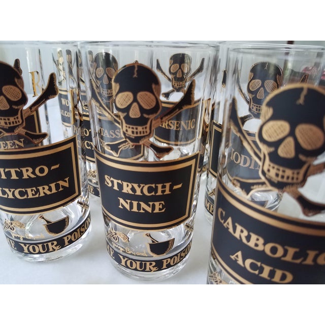 """Georges Briard """"Name Your Poison Glasses"""" Skull and Crossbones Glasses - Set of 8 For Sale - Image 9 of 13"""