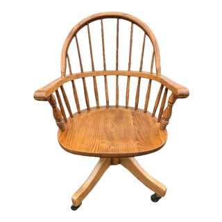 Late 20th Century Boling Chair Company Oak Firehouse Windsor Style Swivel Desk Chair For Sale