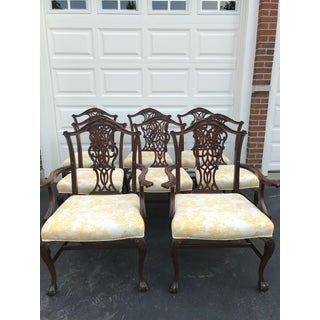 Chippendale Carved Mahogany Dining Room Chairs - Set of 8 Preview