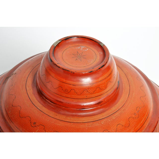 Burmese Red Lacquer Offering Urn For Sale In Chicago - Image 6 of 13