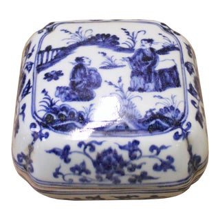 Chinese Blue White Porcelain Scenery Accent Square Box Display For Sale