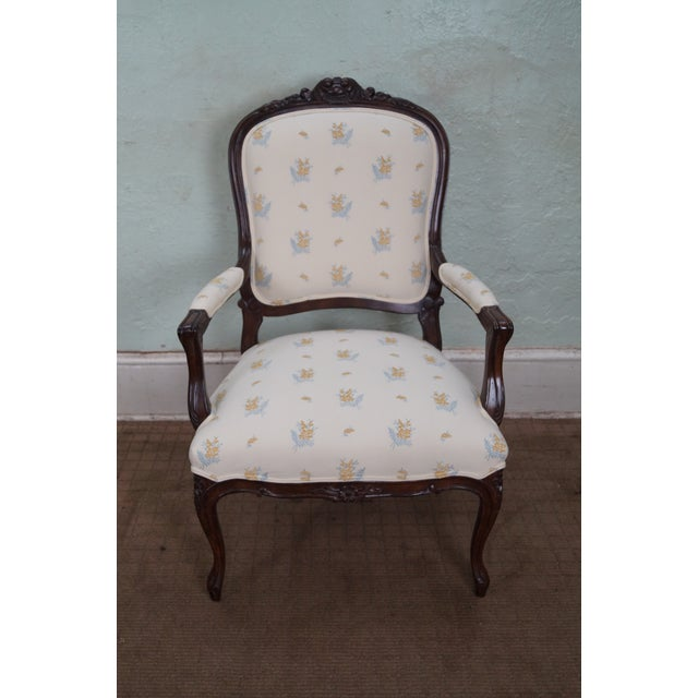 A Jeffco J. Peterman Collection French Louis XV Style open arm fauteuil chair. This is approximately 20 years old and was...