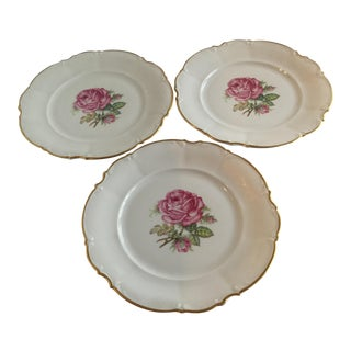 1950s Bavarian Fine China Plates - Set of 3 For Sale