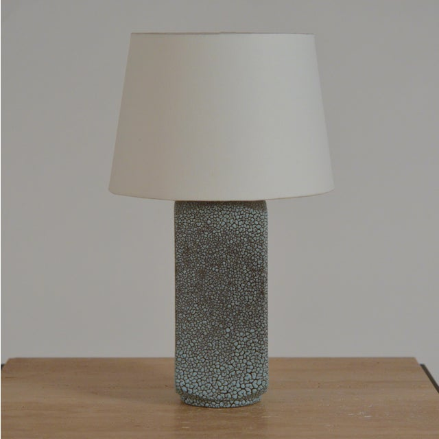 Blue Art Deco Shagreen Glaze Ceramic Lamp With Parchment Shade For Sale - Image 8 of 11