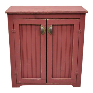 """Vintage Red Painted Primitive Rustic Colonial 32"""" Cabinet For Sale"""
