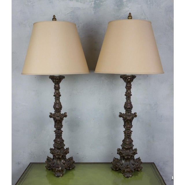 Pair of Neo-Baroque Polyplaster Table Lamps For Sale In New York - Image 6 of 6