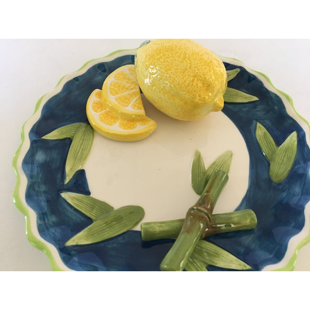 Farmhouse Trompe l'Oeil Decorative Lemon & Bamboo Scalloped Plate For Sale - Image 3 of 8