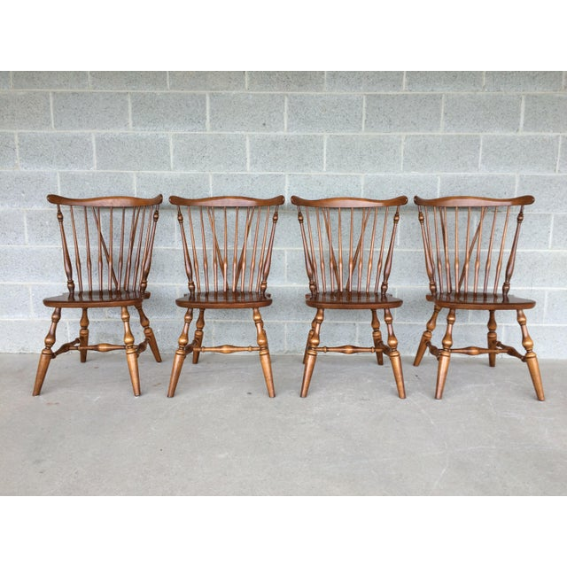 Ethan Allen Set of 4 Windsor Brace Back Solid Maple Side Chairs, Model 10-6020, Finish Number 211. In Very Good Vintage...