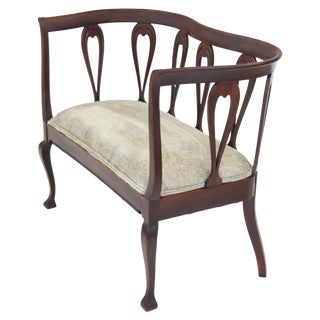 Early 20th C. Edwardian Mahogany Settee For Sale