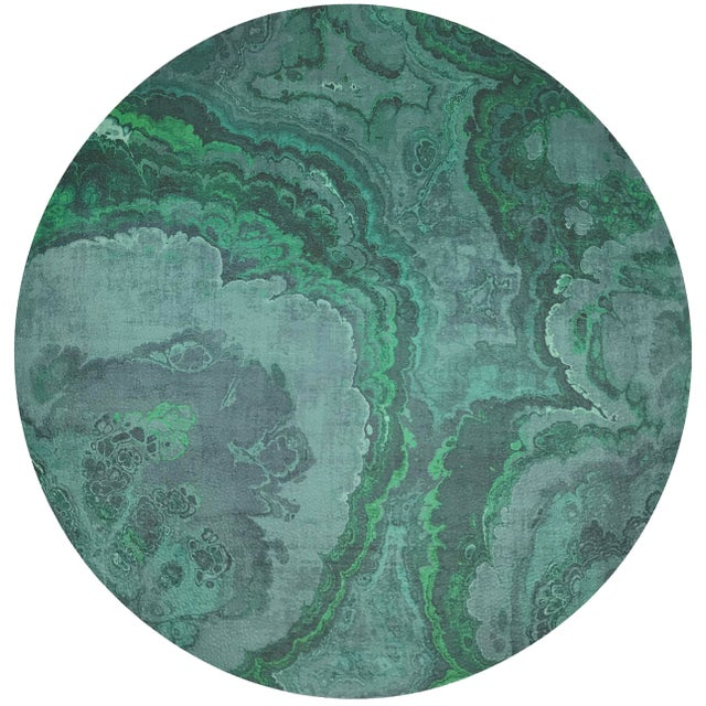 """Abstract Nicolette Mayer Agate Malachite 16"""" Round Pebble Placemats, Set of 4 For Sale - Image 3 of 3"""