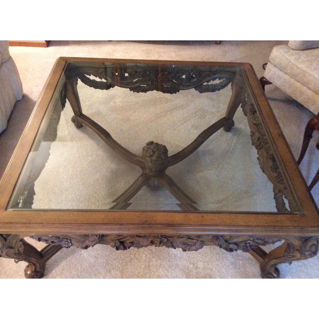 Hand Carved Traditional Glass Top Coffee Table - Image 4 of 7