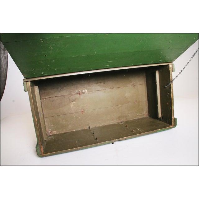 Vintage Military Green Wood Foot Locker - Image 10 of 11