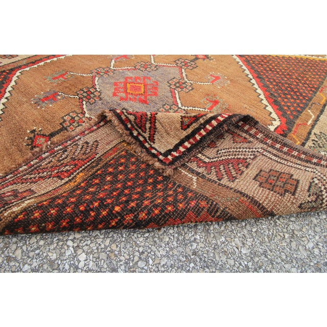 Vintage Tribal Turkish Hand Knotted Rug - 4' X 12'2 For Sale - Image 5 of 6