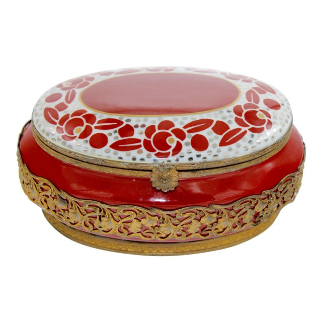 Extra Large Porcelain French Hinged Jewelry Box For Sale