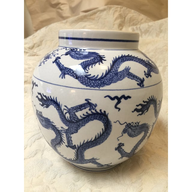 Blue Antique Chinese Blue and White Dragon Urn/Vase For Sale - Image 8 of 8