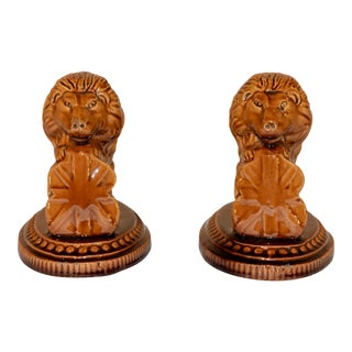 19th C Pair of English Lion Figures For Sale