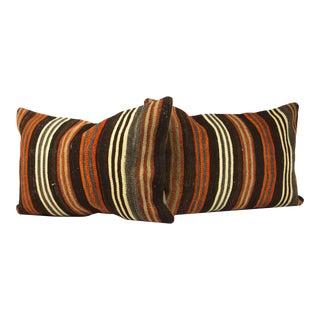 "Turkish Lumbar Kilim Pillow Covers - Set of 2, 16"" X 24"" For Sale"