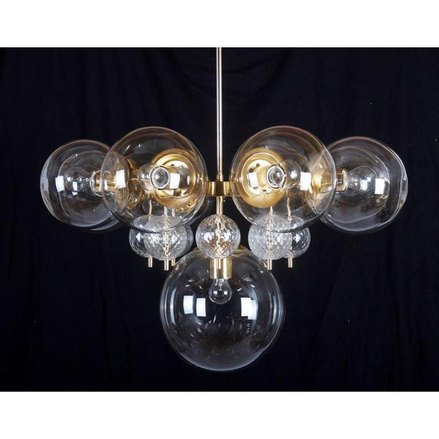 Large Brass Chandelier with Crystal Balls by Kamenicky Senov, 1960s For Sale - Image 6 of 9