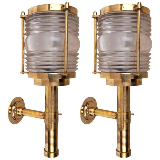 Brass Mid-Century Ship's Brass Passageway Lights With Fresnel Lens - a Pair For Sale - Image 7 of 7