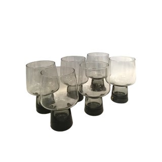 Mid 20th Century Smokey Glass Tumblers - Set of 6 For Sale