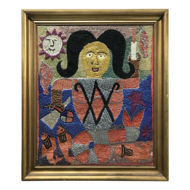 Vintage Framed Voodoo / Tarot Sequined Portrait Artwork on Silk For Sale