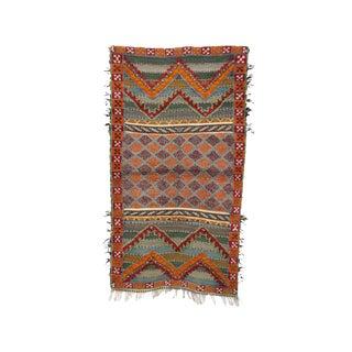 1970s Vintage Zayane Moroccan Rug - 2′11″ × 5′3″ For Sale