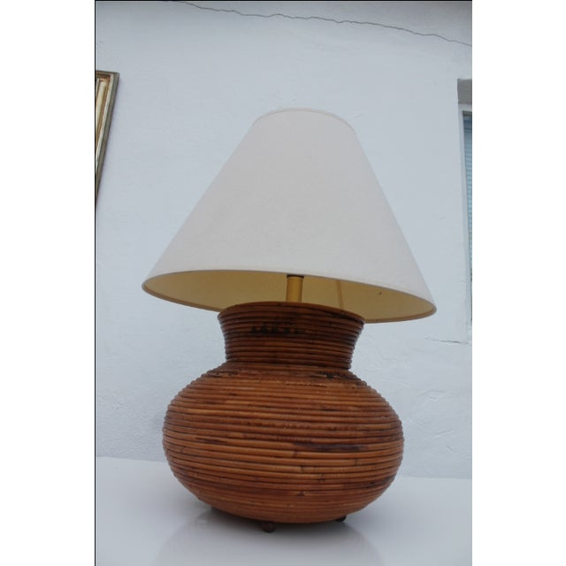 Boho Chic Vintage Pencil Reed Jar Table Lamp For Sale - Image 3 of 9
