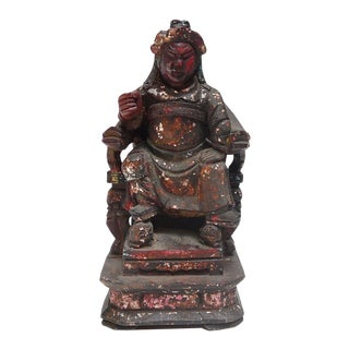 Vintage Wooden Carved Home Guardian God Heaven Soldier Figure For Sale