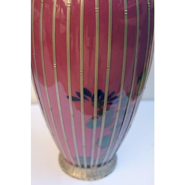 Early 20th Century Japanese Silver Plate Overlay Basket Weave Pottery Vase For Sale - Image 5 of 9