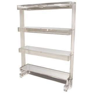 Mid-Century Modern Prismatique Lucite Mirrored Étagère Bookshelf Hollis Jones For Sale