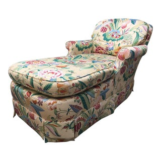 Tropical Print Chaise Lounge by Baker For Sale