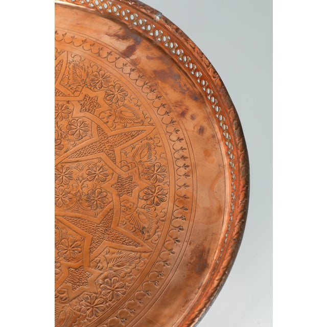 Moroccan Copper Tray Table With Folding Base For Sale - Image 4 of 11