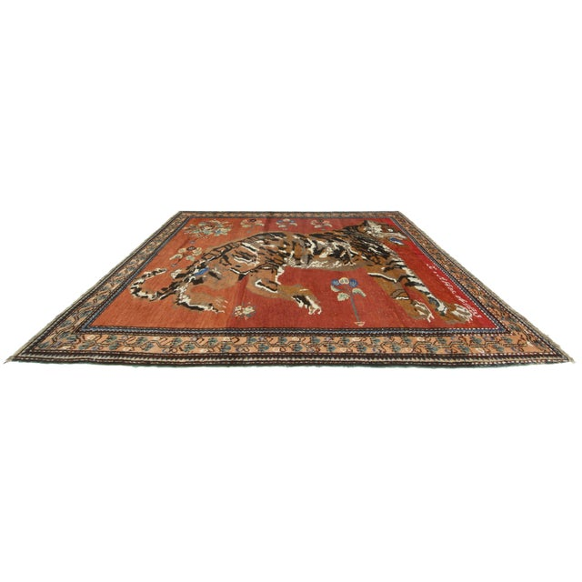 Collector's item. One of a kind vintage Persian hand knotted wool Karajeh rug. Beautiful color tone variations (Abrash).