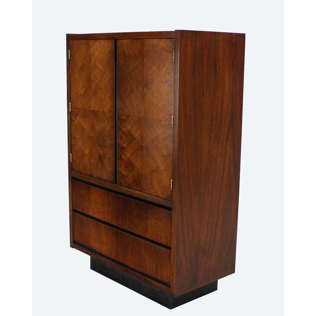Very nice c.1970's walnut 2 door high chest of drawers armoire cabinet in style of M. Baughman. Excellent original vintage...