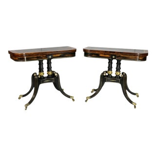Regency Calamander and Giltwood Card Tables - a Pair For Sale