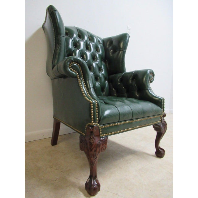 Vintage Chesterfield Style Tufted Ball & Claw Chippendale Wingback Chair - Image 2 of 11