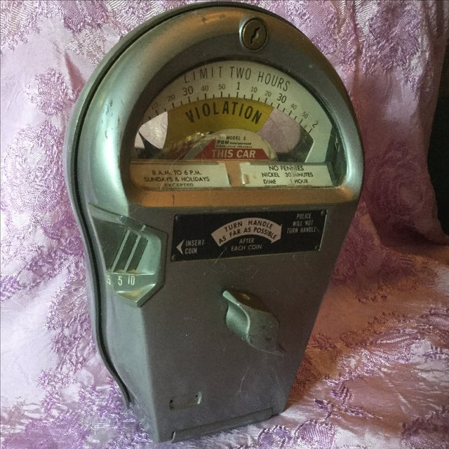 Industrial Vintage Authentic Parking Meter For Sale - Image 3 of 5