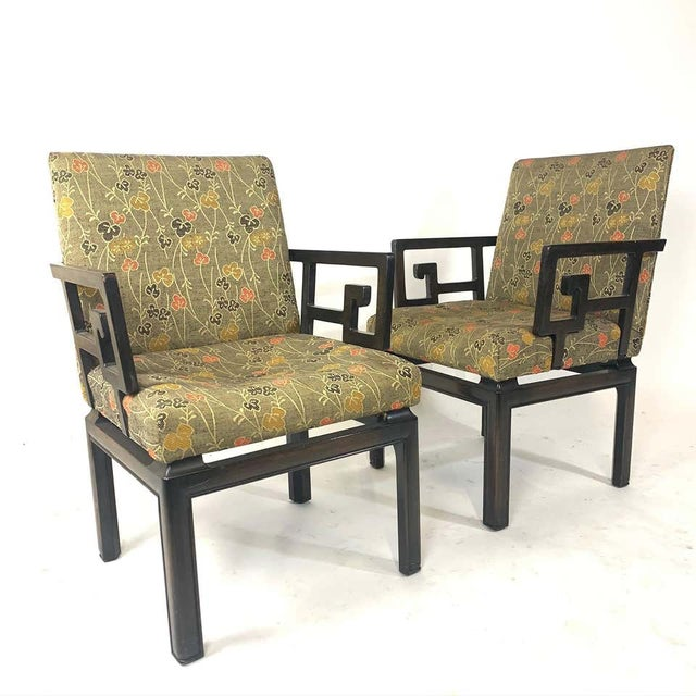 Pair of Greek Key Far East for Baker Chinoiserie Armchairs by Michael Taylor For Sale - Image 9 of 13