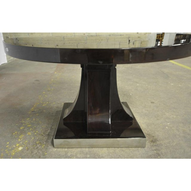 Art Deco Maurice Dufrene Modernist Rosewood Art Deco Coffee Table With Nickel Base For Sale - Image 3 of 7