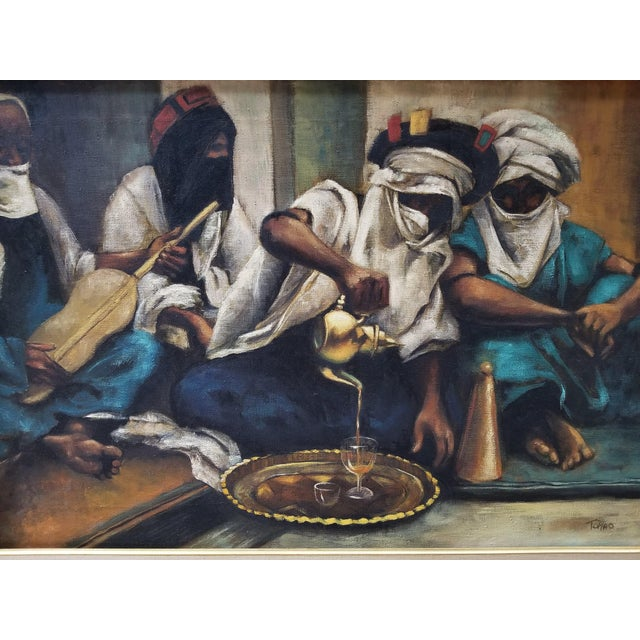 """Presented here is a STUNNING Oil on Canvas Painting by Jenine Tomao. The title is """"Coffee Drinkers"""". Signed by the artist..."""