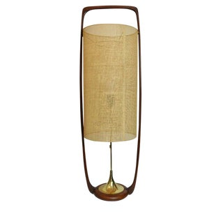 Large Mid-Century Danish Modern Sculpted Teak and Brass Table Lamp by Modeline For Sale