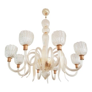Large Eight Light Murano Glass Chandelier, 1970s, Barovier E Toso