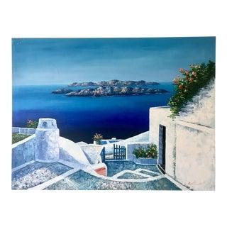 Santorini Large Seascape Vintage Painting