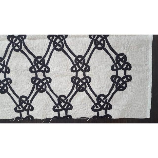 Schumacher Gordian Weave Ebony on Greige Fabric For Sale - Image 5 of 7