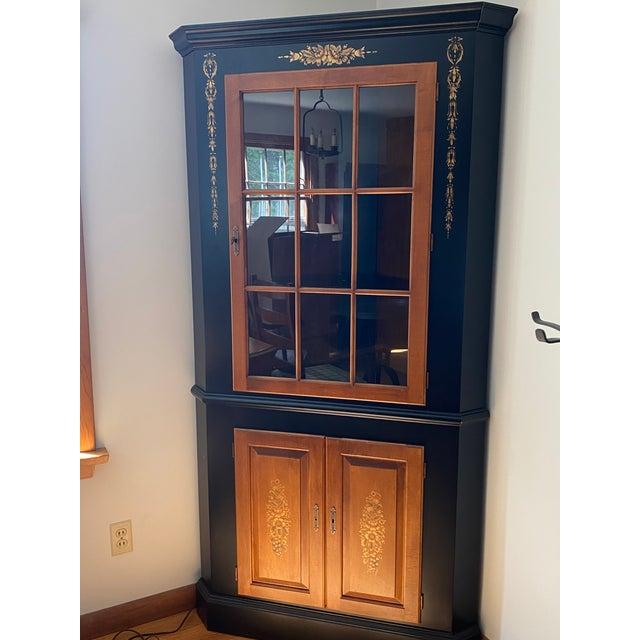 Black/harvest Newington corner cabinet (Black, Brown, Gold stencils) Purchased at Glastonbury CT Hitchcock store in 1994....